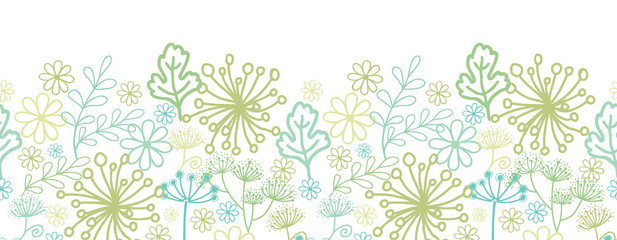 Vector Mysterious green garden horizontal seamless pattern