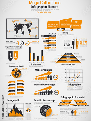 RETRO INFOGRAPHIC DEMOGRAPHIC WORLD MAP ELEMENTS