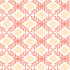 Vector Peach orange argyle retro seamless pattern background