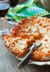Spicy buffalo chicken pizza. Selective focus
