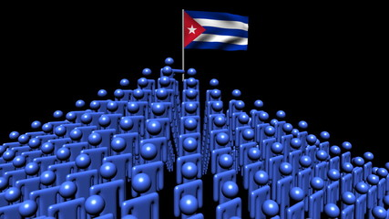 pyramid of men with rippling Cuba flag animation
