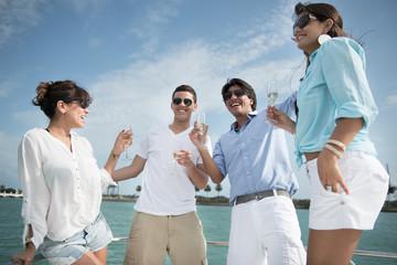 Friends on a yacht