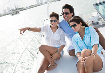 Friends sailing on a boat