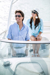 Romantic couple on a boat