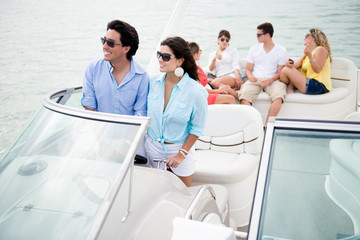 Group of friends sailing