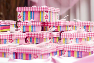 Cajas de regalos, navidad, cumpleaños, festejo, rosa.