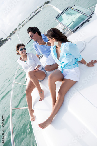 People relaxing on a boat