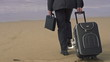 Businessman with suitcase walking on beach