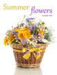 Beautiful bouquet of bright  wildflowers in basket isolated