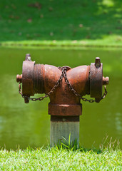 old red fire hydrant on nature background