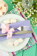 Table setting in violet and white tones