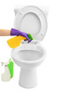 Woman hand with spray bottle cleaning a toilet bowl, isolated