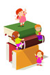 Kids climbing in stack of books