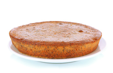 Delicious poppy seed cake isolated on white