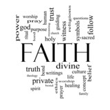 Faith Word Cloud Concept in black and white