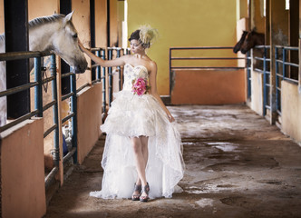 Beautiful bride at horse ranch