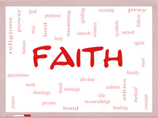 Faith Word Cloud Concept on a Whiteboard