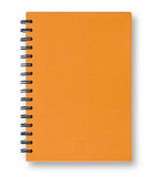 Orange notebook.