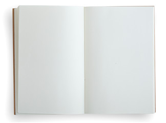 Open notebook isolated on white.
