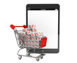Shopping cart with discount cubes near Tablet PC