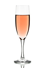 Glass of rose wine isolated