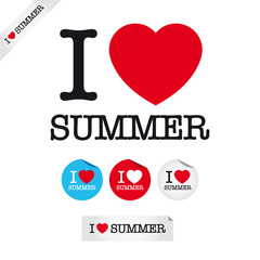 i love summer, font type with signs, stickers and tags