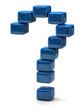 Question mark made of blue cubes