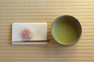 茶道(和菓子と抹茶茶碗2)