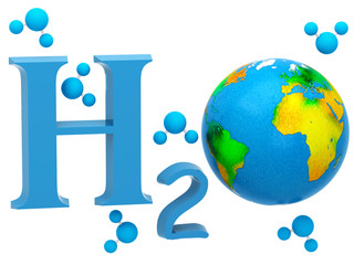 H2O. Formula of water on white background