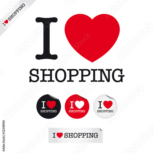 i love shopping, font type with signs, stickers and tags