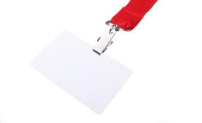 Name tag with red lanyard