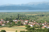 Village And Prespa Lake In Republic Of Macedonia poster