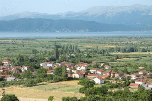 view on Podmocani village and Prespa Lake in Republic Of Macedonia