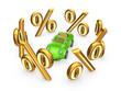 Symbols of percents around green car.