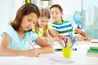 Schoolchildren drawing