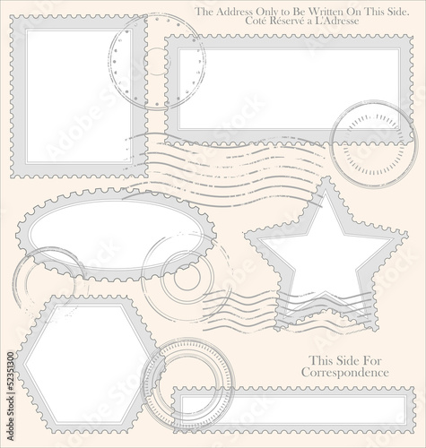 Empty post stamp set, vector illustration
