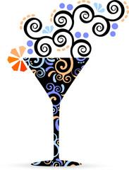 Bicchiere cocktail con decorazione