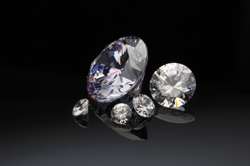 Diamond jewelry  on black background