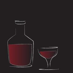 bottiglia con bicchiere