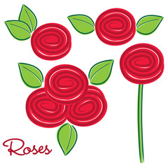 Set of roses in vector format.