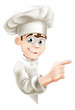 canvas print picture - Cartoon Chef Pointing at Sign