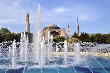 fountain in front  Famous  Hagia Sophia  Istanbul