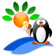 Summer icon with cartoon penguin