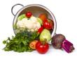 Fresh vegetables in overturned pot
