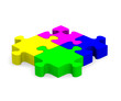 Colorful jigsaw puzzle on white