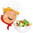 Funny Cook and fresh vegetable salad
