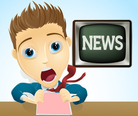 Shocked TV news presenter