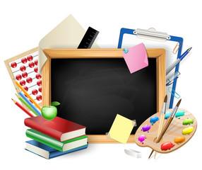 little blackboard as background with pens,pencils,books,apple