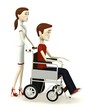 3d render of cartoon character on manual wheel chair