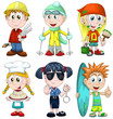 Kids professions hobbies clipart cartoon vector illustration
